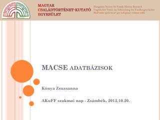 MACSE  adatbázisok