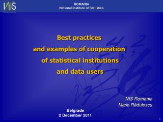 Best practices  and examples of cooperation  of statistical institutions  and data users