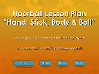 "Floorball Lesson Plan "" Hand, Stick, Body & Ball """
