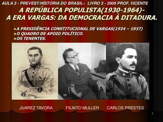 A REPÚBLICA POPULISTA(1930-1964)- A ERA VARGAS: DA DEMOCRACIA À DITADURA.