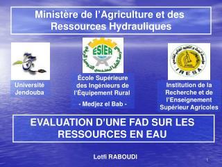 Ministère de l'Agriculture et des  Ressources Hydrauliques