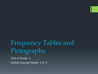 Frequency Tables and Pictographs