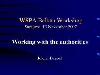 WS PA Balkan Workshop Sarajevo, 13 November 2007