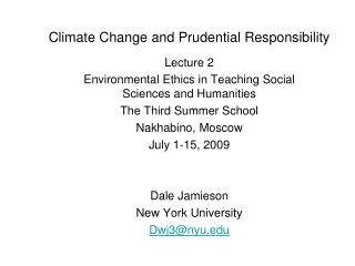 Climate Change and Prudential Responsibility
