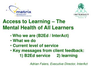 Access to Learning – The Mental Health of All Learners