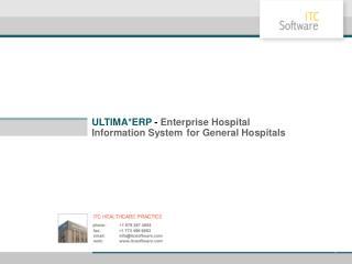ULTIMA* ERP -  Enterprise Hospital Information System for General Hospitals