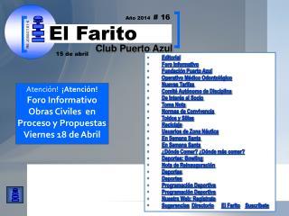 Editorial Foro Informativo Fundación Puerto Azul  Operativo Médico Odontológico Nuevas Tarifas