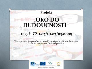"Projekt ""OKO  DO BUDOUCNOSTI"" reg . č.  CZ.1.07/1.1.07/03.0005"
