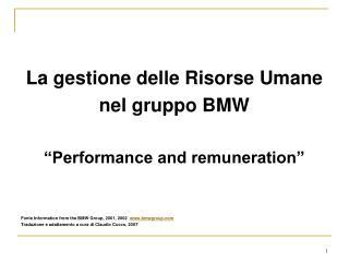 La gestione delle Risorse Umane  nel gruppo BMW �Performance and remuneration�