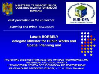 Risk prevention in the context of planning and urban development