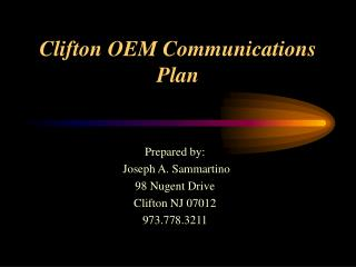 Clifton OEM Communications Plan
