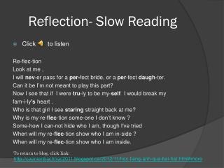 Reflection- Slow Reading