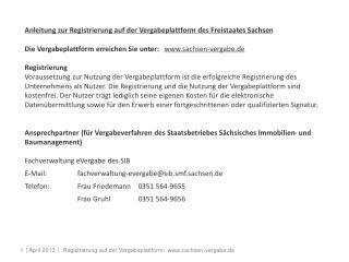 Anleitung zur Registrierung auf der Vergabeplattform des Freistaates Sachsen