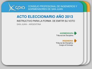 ACTO ELECCIONARIO AÑO 2013 INSTRUCTIVO PARA LA FORMADE EMITIR SU VOTO SAN JUAN – ARGENTINA