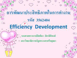 การพัฒนาประสิทธิภาพในการทำงาน รหัส  3562404 Efficiency  Development