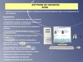 SOFTWARE DE  VISITANTES             SV200
