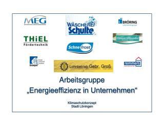"""Arbeitsgruppe  """"Energieeffizienz in Unternehmen"""""""