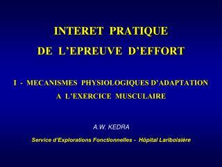 A.W. KEDRA Service d'Explorations Fonctionnelles -  Hôpital Lariboisière