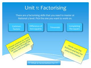 Unit 1: Factorising