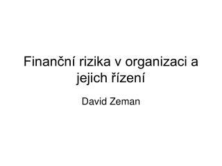 Finan?n� rizika v organizaci a jejich ?�zen�