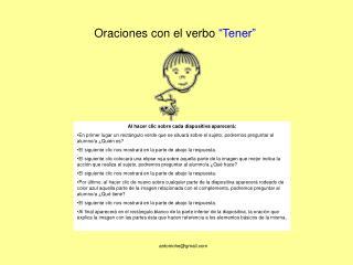 """Oraciones con el verbo  """"Tener"""""""