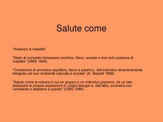 Salute come