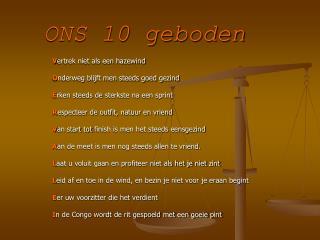 ONS 10 geboden