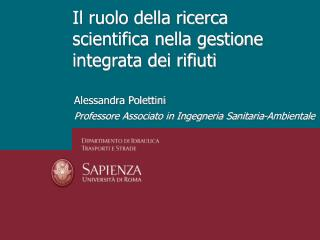 Il ruolo della ricerca scientifica nella gestione integrata dei rifiuti