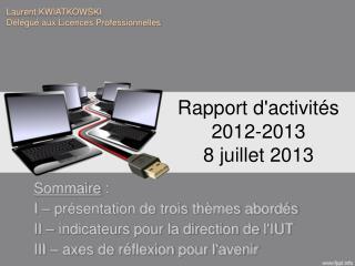 Rapport d'activités 2012-2013 8 juillet 2013