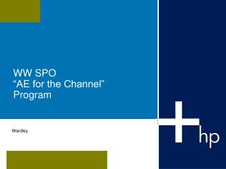 "WW SPO  ""AE for the Channel""  Program"
