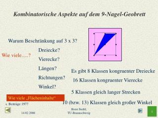 Kombinatorische Aspekte auf dem 9-Nagel-Geobrett