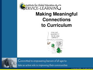 Making Meaningful Connections  to Curriculum