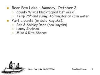Bear Paw Lake – Monday, October 2  County W was blacktopped last week!