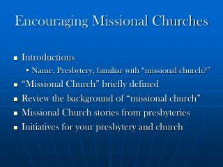 Encouraging Missional Churches