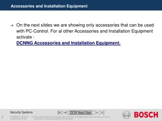Accessories and Installation Equipment