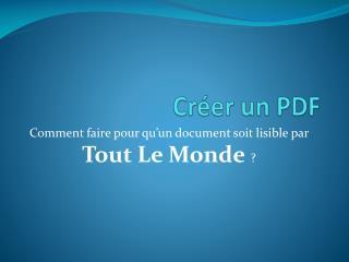 Cr�er un PDF