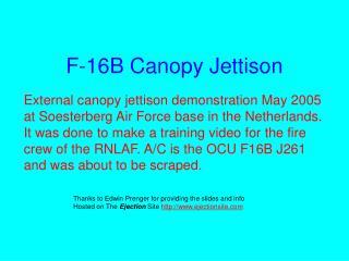 F-16B Canopy Jettison