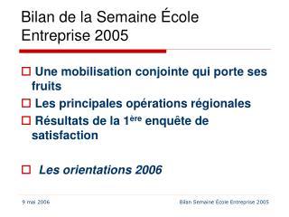 Bilan de la Semaine École Entreprise 2005