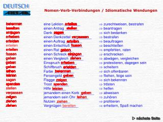 Nomen-Verb-Verbindungen / Idiomatische Wendungen
