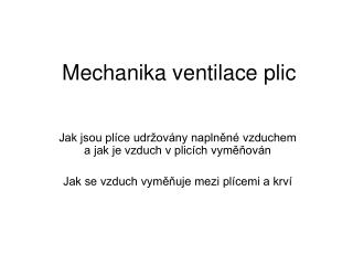 Mechanika ventilace plic
