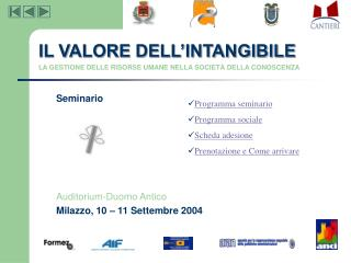 Seminario  Auditorium-Duomo Antico Milazzo, 10 – 11 Settembre 2004