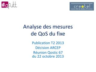 Analyse des mesures  de  QoS  du fixe