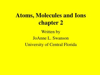 Atoms, Molecules and Ions chapter 2