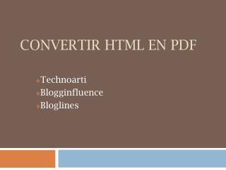 Convertir HTML en PDF