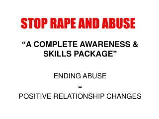 STOP RAPE AND ABUSE
