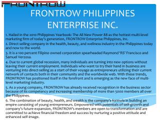 FRONTROW  PHILIPPINES ENTERPRISE INC .