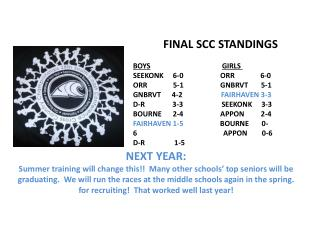 FINAL SCC STANDINGS  BOYS GIRLS  SEEKONK     6-0 		    ORR              6-0