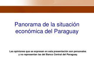Panorama de la situaci�n econ�mica del Paraguay
