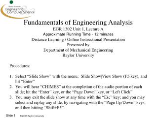 Fundamentals of Engineering Analysis EGR 1302 Unit 1, Lecture A