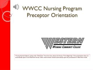 WWCC Nursing Program Preceptor Orientation